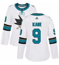 Womens Adidas San Jose Sharks 9 Evander Kane Authentic White Away NHL Jersey