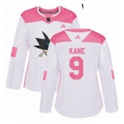 Womens Adidas San Jose Sharks 9 Evander Kane Authentic White Pink Fashion NHL Jerse