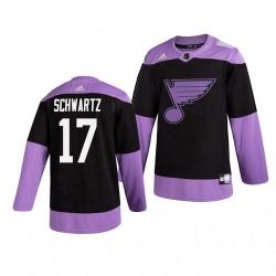 Blues 17 Jaden Schwartz Black Purple Hockey Fights Cancer Adidas Jersey