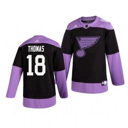 Blues 18 Robert Thomas Black Purple Hockey Fights Cancer Adidas Jersey