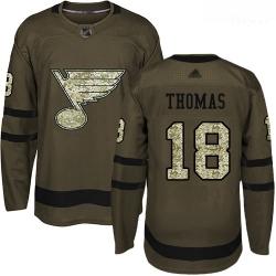Blues #18 Robert Thomas Green Salute to Service Stitched Hockey Jersey