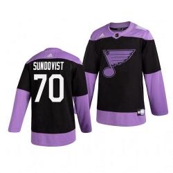 Blues 70 Oskar Sundqvist Black Purple Hockey Fights Cancer Adidas Jersey