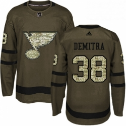 Mens Adidas St Louis Blues 38 Pavol Demitra Premier Green Salute to Service NHL Jersey