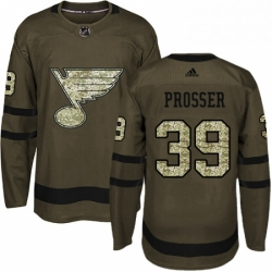 Mens Adidas St Louis Blues 39 Nate Prosser Authentic Green Salute to Service NHL Jersey