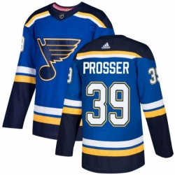 Mens Adidas St Louis Blues 39 Nate Prosser Authentic Royal Blue Home NHL Jersey