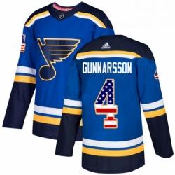 Mens Adidas St Louis Blues 4 Carl Gunnarsson Authentic Blue USA Flag Fashion NHL Jersey