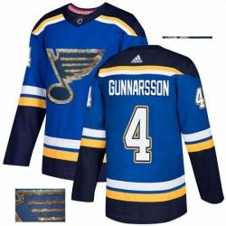 Mens Adidas St Louis Blues 4 Carl Gunnarsson Authentic Royal Blue Fashion Gold NHL Jersey