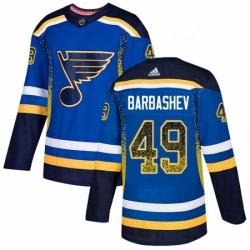 Mens Adidas St Louis Blues 49 Ivan Barbashev Authentic Blue Drift Fashion NHL Jersey