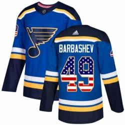 Mens Adidas St Louis Blues 49 Ivan Barbashev Authentic Blue USA Flag Fashion NHL Jersey