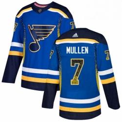 Mens Adidas St Louis Blues 7 Joe Mullen Authentic Blue Drift Fashion NHL Jersey
