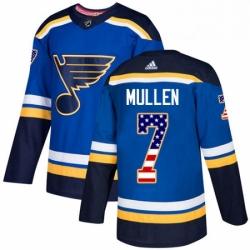 Mens Adidas St Louis Blues 7 Joe Mullen Authentic Blue USA Flag Fashion NHL Jersey