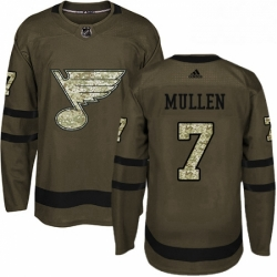 Mens Adidas St Louis Blues 7 Joe Mullen Authentic Green Salute to Service NHL Jersey