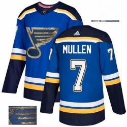 Mens Adidas St Louis Blues 7 Joe Mullen Authentic Royal Blue Fashion Gold NHL Jersey