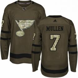 Mens Adidas St Louis Blues 7 Joe Mullen Premier Green Salute to Service NHL Jersey