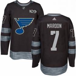 Mens Adidas St Louis Blues 7 Patrick Maroon Authentic Black 1917 2017 100th Anniversary NHL Jersey