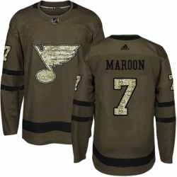 Mens Adidas St Louis Blues 7 Patrick Maroon Authentic Green Salute to Service NHL Jersey