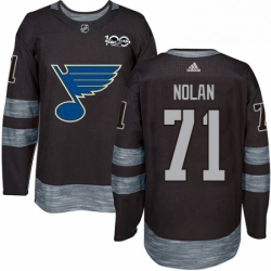 Mens Adidas St Louis Blues 71 Jordan Nolan Authentic Black 1917 2017 100th Anniversary NHL Jersey