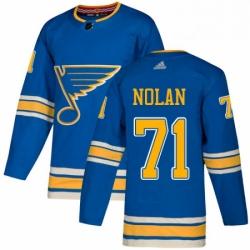 Mens Adidas St Louis Blues 71 Jordan Nolan Authentic Navy Blue Alternate NHL Jersey