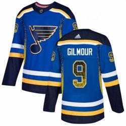 Mens Adidas St Louis Blues 9 Doug Gilmour Authentic Blue Drift Fashion NHL Jersey