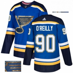 Mens Adidas St Louis Blues 90 Ryan OReilly Authentic Royal Blue Fashion Gold NHL Jerse