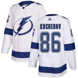 Men Adidas Tampa Bay Lightning 86 Nikita Kucherov Authentic White Home NHL Jersey