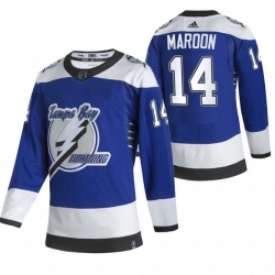 Men Tampa Bay Lightning 14 Patrick Maroon Blue Adidas 2020 21 Reverse Retro Alternate NHL Jersey