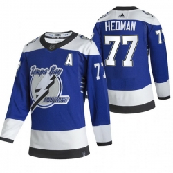 Men Tampa Bay Lightning 77 Victor Hedman Blue Adidas 2020 21 Reverse Retro Alternate NHL Jersey