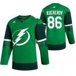 Men Tampa Bay Lightning 86 Nikita Kucherov Green 2020 Adidas Jersey