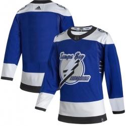 Men Tampa Bay Lightning Blank Blue 2020 21 Reverse Retro Adidas Jersey