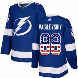 Mens Adidas Tampa Bay Lightning 88 Andrei Vasilevskiy Authentic Blue USA Flag Fashion NHL Jersey