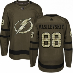 Mens Adidas Tampa Bay Lightning 88 Andrei Vasilevskiy Authentic Green Salute to Service NHL Jersey