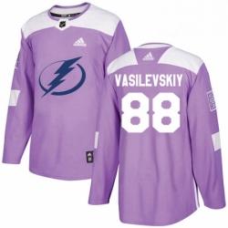 Mens Adidas Tampa Bay Lightning 88 Andrei Vasilevskiy Authentic Purple Fights Cancer Practice NHL Jersey