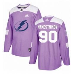 Mens Adidas Tampa Bay Lightning 90 Vladislav Namestnikov Authentic Purple Fights Cancer Practice NHL Jersey