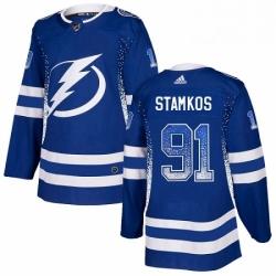 Mens Adidas Tampa Bay Lightning 91 Steven Stamkos Authentic Blue Drift Fashion NHL Jersey