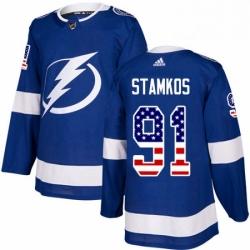 Mens Adidas Tampa Bay Lightning 91 Steven Stamkos Authentic Blue USA Flag Fashion NHL Jersey
