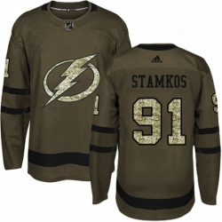 Mens Adidas Tampa Bay Lightning 91 Steven Stamkos Authentic Green Salute to Service NHL Jersey