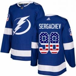 Mens Adidas Tampa Bay Lightning 98 Mikhail Sergachev Authentic Blue USA Flag Fashion NHL Jersey