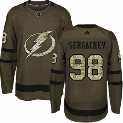 Mens Adidas Tampa Bay Lightning 98 Mikhail Sergachev Authentic Green Salute to Service NHL Jersey