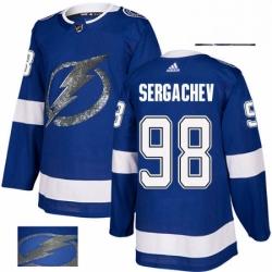 Mens Adidas Tampa Bay Lightning 98 Mikhail Sergachev Authentic Royal Blue Fashion Gold NHL Jersey