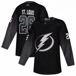 Mens Tampa Bay Lightning 26 Martin St Louis adidas Alternate Authentic Player Jersey Black