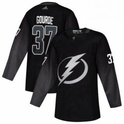 Mens Tampa Bay Lightning 37 Yanni Gourde adidas Alternate Authentic Player Jersey Black