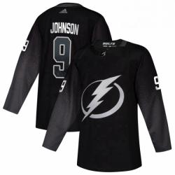 Mens Tampa Bay Lightning 9 Tyler Johnson adidas Alternate Authentic Player Jersey Black