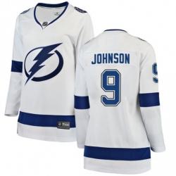 Women Adidas Tampa Bay Lightning 9 Tyler Johnson Premier White Home NHL Jersey