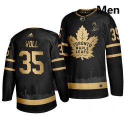 Maple Leafs 35 Joseph Woll Black With Special Glittery Logo Adidas Jersey