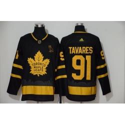 Maple Leafs 91 John Tavares Black Gold Adidas Jersey