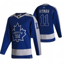 Men Toronto Maple Leafs 11 Zach Hyman Blue Adidas 2020 21 Reverse Retro Alternate NHL Jersey
