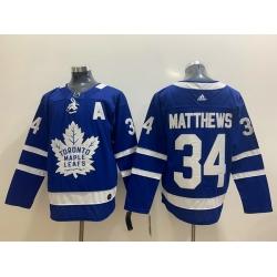 Men Toronto Maple Leafs 34 Auston Matthews Blue Adidas Jersey