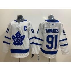 Men Toronto Maple Leafs 91 John Tavares White Adidas Jersey