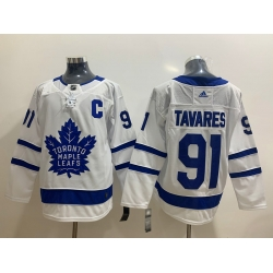 Men Toronto Maple Leafs 91 John Tavares with C Patch White Road Stitched Adidas NHL Jersey