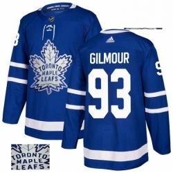 Mens Adidas Toronto Maple Leafs 93 Doug Gilmour Authentic Royal Blue Fashion Gold NHL Jersey